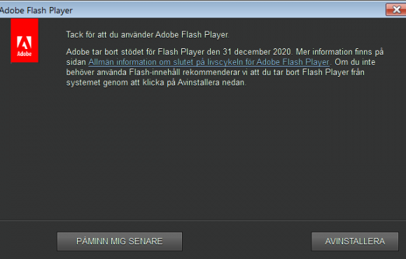 The Flash Player Uninstall Recommendation Window